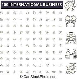 conceito, esboço, negócio, jogo, ícones, ilustração, vetorial, internacional, linha, sinais