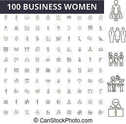 conceito, esboço, negócio, jogo, ícones, ilustração, vetorial, linha, sinais, mulheres