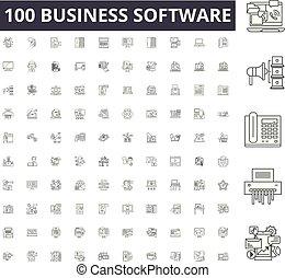 conceito, esboço, negócio, jogo, ícones, ilustração, vetorial, linha, sinais, software