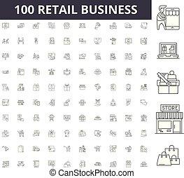 conceito, esboço, negócio, jogo, ícones, ilustração, vetorial, linha, varejo, sinais