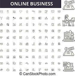 conceito, esboço, negócio, jogo, ícones, ilustração, vetorial, online, linha, sinais