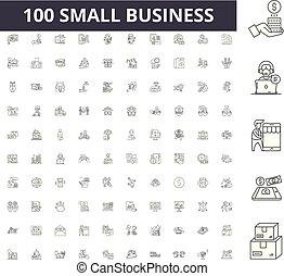 conceito, esboço, negócio, jogo, ícones, ilustração, vetorial, pequeno, linha, sinais