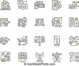conceito, esboço, negócio, jogo, ícones, ilustração, vetorial, promoção, sinais, linha