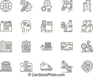 conceito, esboço, negócio, jogo, ícones, ilustração, vetorial, serviços, linha, sinais