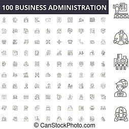 conceito, esboço, negócio, jogo, administração, ícones, ilustração, vetorial, linha, sinais