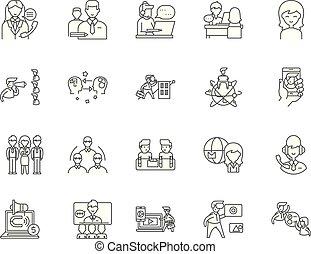 conceito, esboço, negócio, jogo, consultor, ícones, ilustração, vetorial, linha, sinais