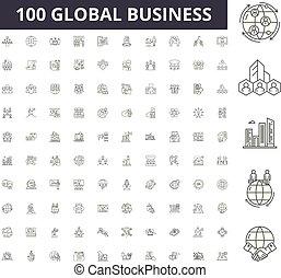 conceito, esboço, negócio, jogo, global, ícones, ilustração, vetorial, linha, sinais