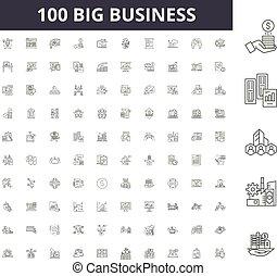 conceito, esboço, negócio, jogo, grande, ícones, ilustração, vetorial, linha, sinais