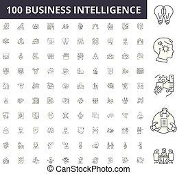 conceito, esboço, negócio, jogo, inteligência, ícones, ilustração, vetorial, linha, sinais
