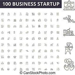 conceito, esboço, negócio, jogo, startup, ícones, ilustração, vetorial, linha, sinais