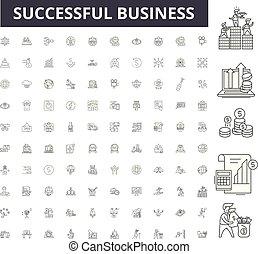 conceito, esboço, negócio, sucedido, ícones, ilustração, jogo, vetorial, linha, sinais