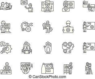 conceito, esboço, serviço, jogo, ícones, ilustração, engenharia, vetorial, linha, sinais