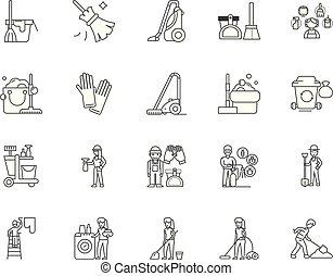 conceito, esboço, serviço, jogo, ícones, ilustração, vetorial, linha, sinais, janitorial