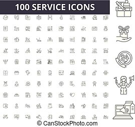 conceito, esboço, serviço, jogo, ícones, ilustração, vetorial, linha, sinais