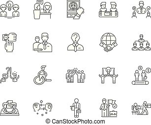 conceito, esboço, serviço, jogo, ícones, incumbência, vetorial, ilustração, linha, sinais
