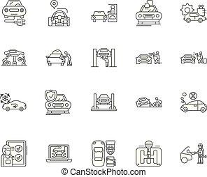 conceito, esboço, serviço, jogo, automático, ícones, ilustração, vetorial, linha, sinais