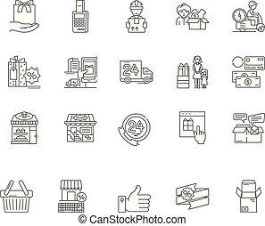 conceito, esboço, serviço, jogo, consumidor, ícones, ilustração, vetorial, linha, sinais