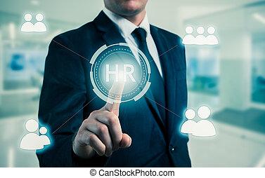 conceito, escolhido, recrutamento, pontos, icon-hr, homem negócios