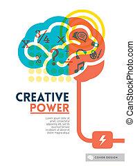 conceito, esquema, cartaz, cobertura, idéia, criativo, cérebro, voador, desenho, fundo, folheto