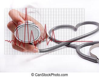 conceito, femininas, stethoscope;, mão, saúde, segurando, cuidado