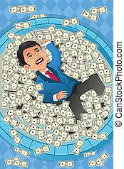 conceito, financeiro, dinheiro, homem negócios, piscina, feliz