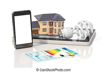 conceito, fornecido, casa, habitação, ilustração, lata, ver, project., arquiteta, quartos, ter, residencial, design., onde, vista, ferramentas, blueprints., 3d