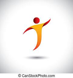conceito, graphic., esportes, aeróbica, fiar, pessoa, -, também, dançar, ioga, dança, ilustração, ícone, mosca, representa, semelhante, este, etc, vetorial, acrobacia, atividade, ginástica