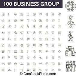 conceito, grupo, esboço, negócio, jogo, ícones, ilustração, vetorial, linha, sinais