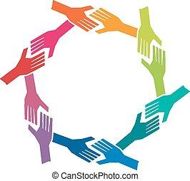 conceito, grupo, oh, pessoas, trabalho equipe, mãos, circle.