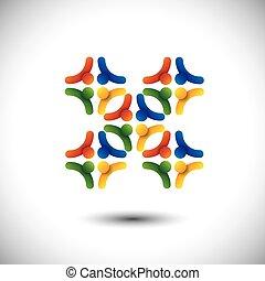 conceito, grupo, &, pessoas, comunidade, unidade, vetorial, ou, solidariedade