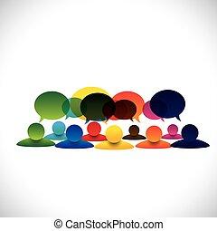 conceito, grupo, pessoas conversando, vetorial, empregado, discussões, ou