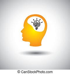 conceito, &, -, idéia, rosto, cérebro, vetorial, human, bulbo, ícone
