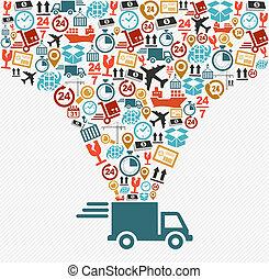 conceito, illustration., ícones, entrega rápida, jogo, caminhão, despacho