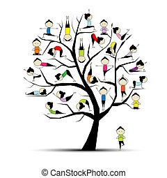 conceito, ioga, prática, árvore, desenho, seu