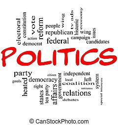 conceito, letras, nuvem, política, palavra, vermelho