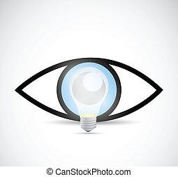 conceito, luz, ilustração, idea., visual, bulbo