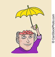 conceito, metáfora, mente, protection., criativo, ilustração, cuidado, artisticos