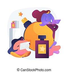 conceito, metáfora, perfume, loja online, vetorial