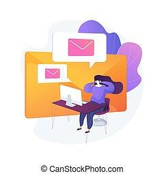 conceito, metaphor., email, serviço, vetorial