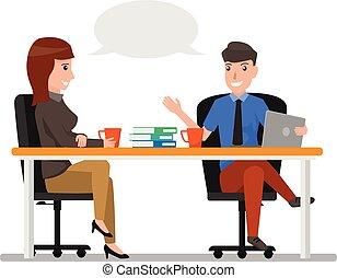 conceito, mulher, discutir, escritório, sentando, communication., personagem, businesspeople, negócio, falando, vetorial, conversa, homem, caricatura, illustration.