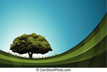 conceito, natureza, árvore, abstratos, carvalho, onda, desenho, fundo