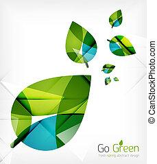 conceito, natureza, primavera, folhas, verde, desenho