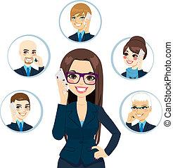 conceito, negócio, contatos
