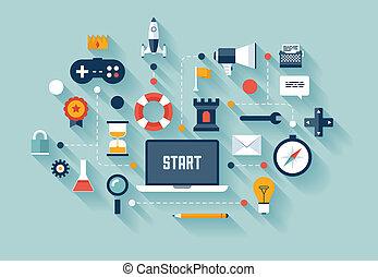 conceito negócio, gamification, ilustração