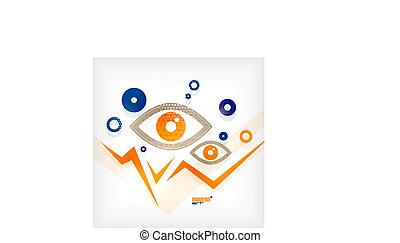 conceito, olho, abstratos, vetorial, modernos