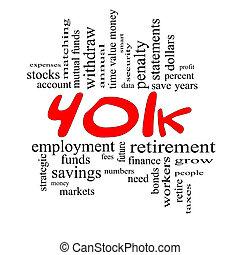 conceito, palavra, &, 401k, preto vermelho, nuvem