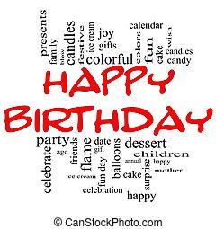 conceito, palavra, &, aniversário, nuvem preta, vermelho, feliz