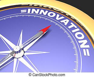 conceito, palavra, apontar, abstratos, agulha, innovation., inovação, compasso
