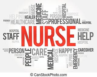 conceito, palavra, colagem, saúde, fundo, enfermeira, nuvem