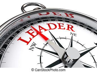 conceito, palavra, líder, vermelho, compasso